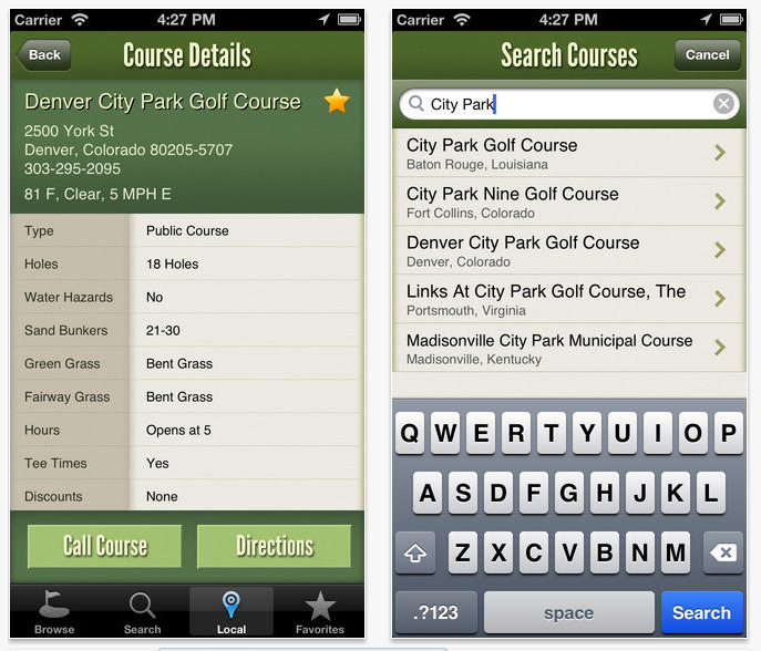 US Golf Courses App