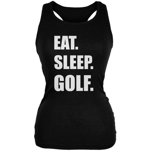 Eat Sleep Golf Black Juniors Soft Tank Top